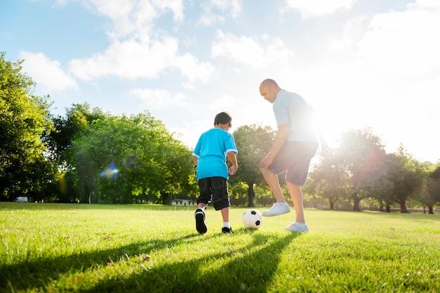 Família, tocando, parque