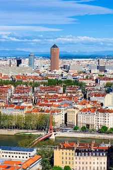 Famosa vista aérea da cidade de lyon, frança