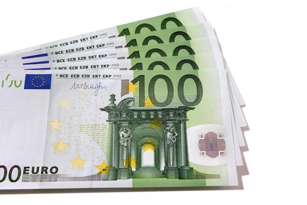 Fan pilha de notas de euro