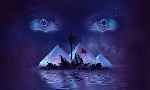 Fantasia futurista de paisagem noturna abstrata com o brilho do luar da ilha