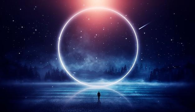 Fantasia futurista de paisagem noturna com ilhas abstratas e céu noturno com galáxias espaciais