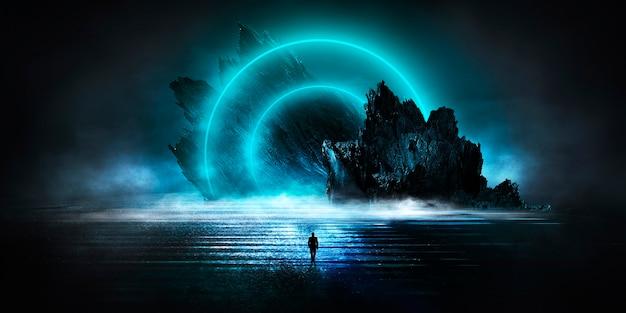 Fantasia futurista paisagem noturna com paisagem abstrata luz da lua brilhar escuro cena natural