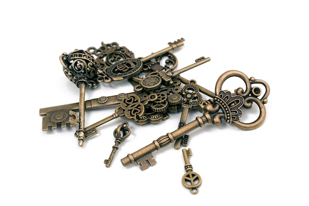 Fantasia vintage detalhada chaves douradas