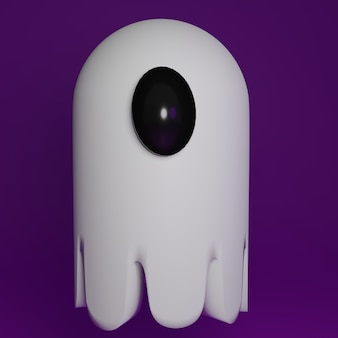 Fantasma 3d com olho em fundo roxo