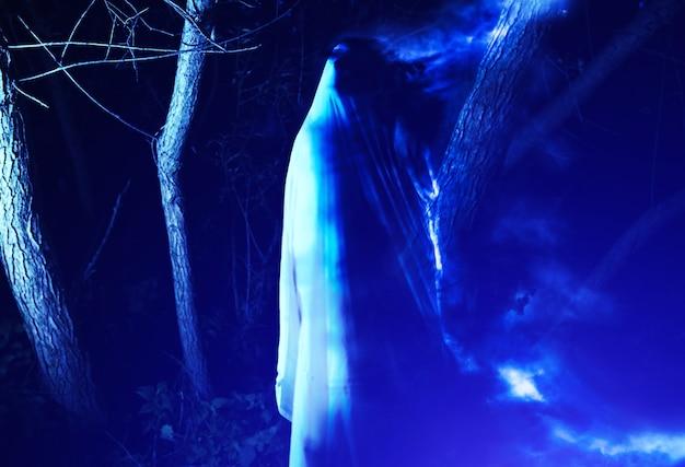 Fantasma à noite ao ar livre. fumaça azul ao redor. conceito de filme de terror. coisas assustadoras na floresta. idéia de fantasia de halloween. festas de outono de todas as vésperas de santos.