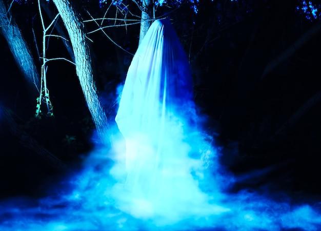 Fantasma à noite ao ar livre. fumaça azul ao redor. idéia de fantasia de halloween. conceito de filme de terror. coisas assustadoras na floresta. festas de outono de todas as vésperas de santos.