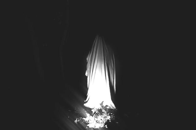 Fantasma à noite ao ar livre. idéia de fantasia de halloween. conceito de filme de terror. coisas assustadoras na floresta. festas de outono de todas as vésperas de santos. foto em preto e branco.