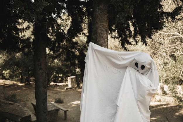 Fantasma acenando de braços no parque