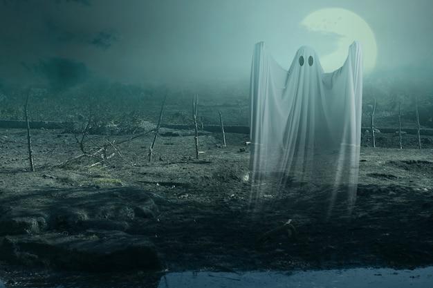 Fantasma branco assombrando com uma cena noturna