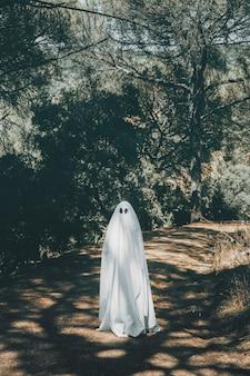Fantasma de pé na passarela no parque verde