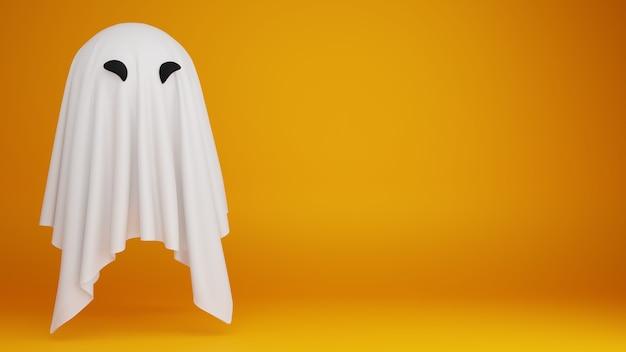 Fantasma engraçado em fundo amarelo com espaço de cópia modelo de banner de halloween ilustração 3d render