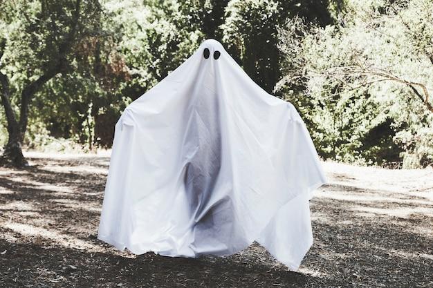 Fantasma sombrio com mãos levantando em pé na floresta ensolarada