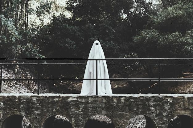 Fantasma sombrio em pé no viaduto na floresta
