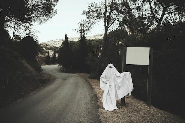 Fantasma sombrio em pé perto de placa de sinal na floresta