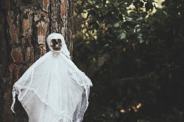 Fantasma sombrio pendurado na árvore