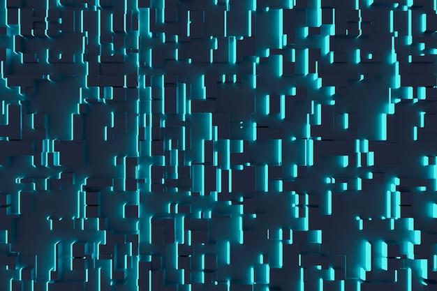 Fantástico fundo abstrato de cubos e painéis de luz. tecnologias do futuro. ilustração 3d.
