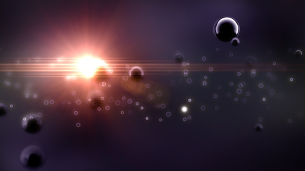 Fantástico fundo de espaço abstrato em renderização de ilustração 3d