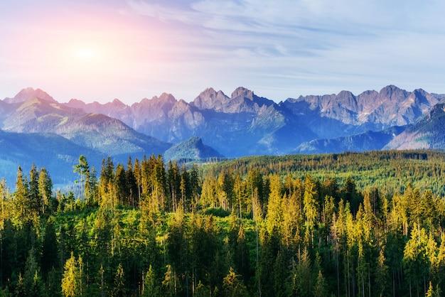 Fantástico pôr do sol nas montanhas da ucrânia.