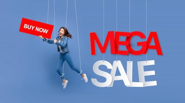 Fantoche de mulher excitada com sinal de venda mega