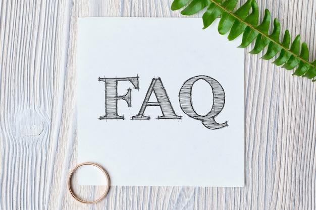 Faq de conceitos sobre as principais questões no tema da preparação do casamento.