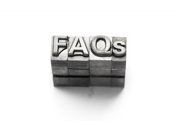 Faq, faqs pergunta tipografia