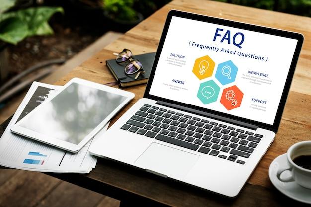 Faq pergunta informação helpdesk graphic word