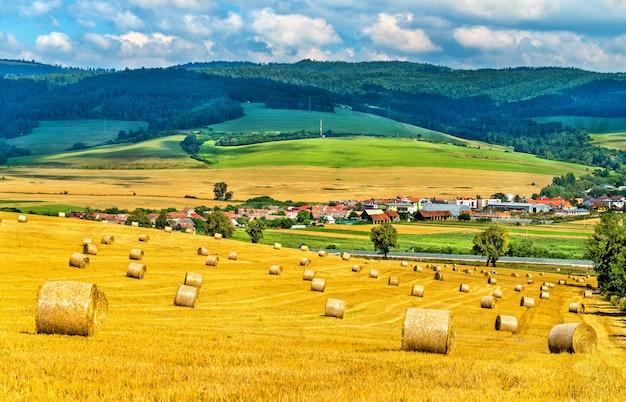 Fardos de palha em um campo de trigo na eslováquia, europa central