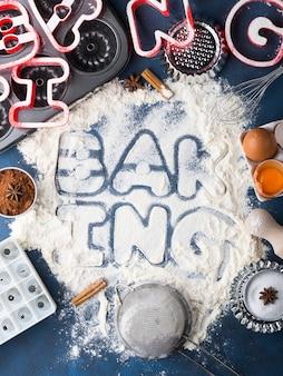 Farinha letras ortografia cozimento com ferramentas e ingredientes