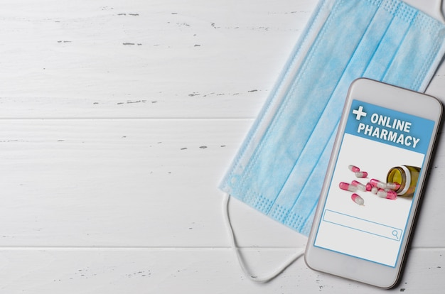 Farmácia on-line. aplicativo em smartphone para pedidos on-line de medicamentos