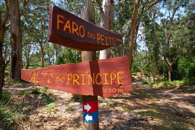 Faro peito sinal para farol em islas cies espanha