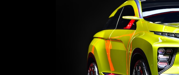 Faróis dianteiros de um suv compacto amarelo em fundo preto, copie o espaço