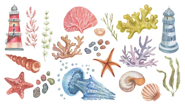 Farol água-viva estrela-do-mar corais conchas padrão sem emenda praia aquarela ilustração mão