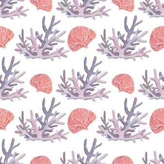 Farol água-viva estrela-do-mar corais conchas praia ilustração aquarela