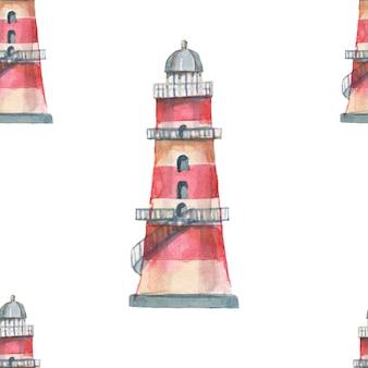 Farol conchas mar padrão sem emenda viajar praia aquarela ilustração desenhado à mão