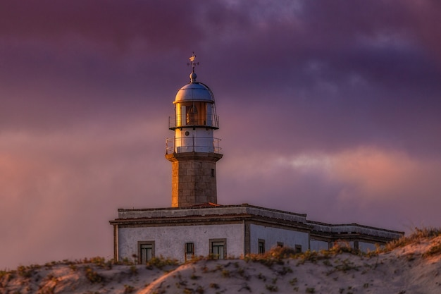 Farol de larino sob um céu nublado durante o pôr do sol à noite na espanha