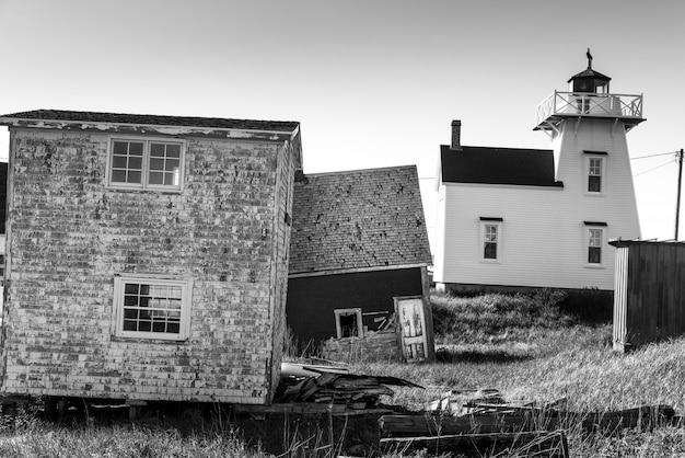 Farol, e, galpões, em, porto, norte, rustico, príncipe edward island, canadá