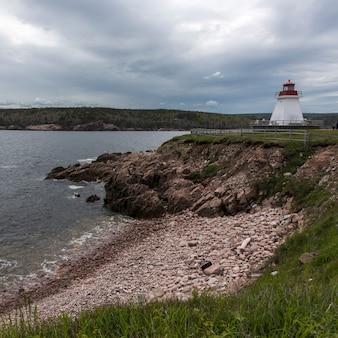 Farol, em, costa, neil's, porto, capa breton, ilha, nova escócia, canadá