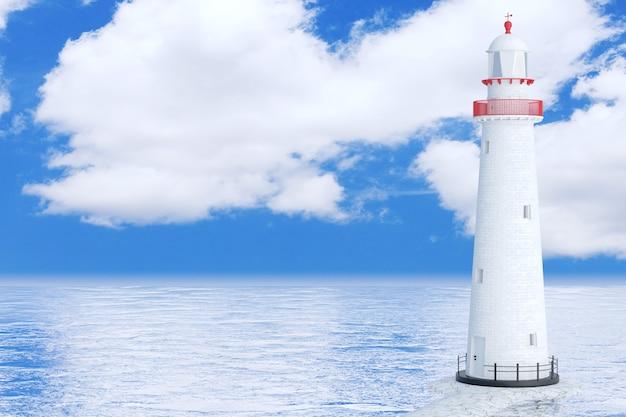 Farol no oceano ou mar em um fundo de céu azul. renderização 3d