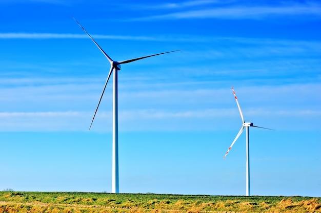 Fãs de vento com um dia sem nuvens