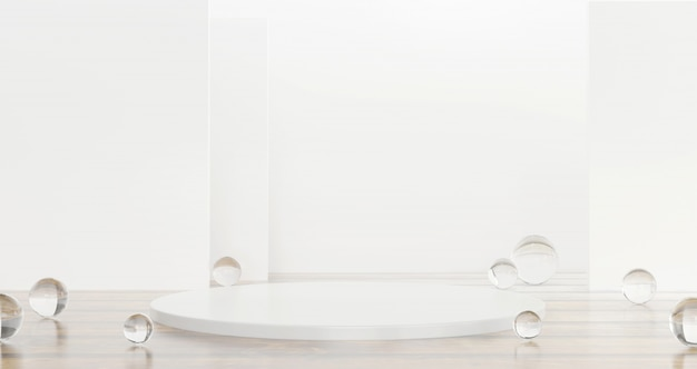 Fase branca do produto do molde atual com a bola de vidro clara na rendição lustrosa do fundo 3d.