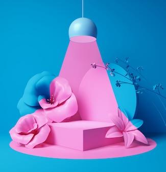 Fase ou pódio vazio da cena da cor pastel para o fundo da exposição do produto, rendição 3d.