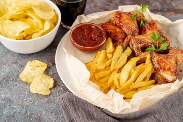Fast-food close-up na mesa