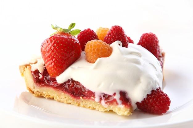 Fatia de bolo de bolo de frutas de sobremesa
