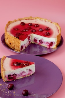 Fatia de bolo de queijo simples com molho de cranberry na chapa branca decorada com folhas de hortelã.