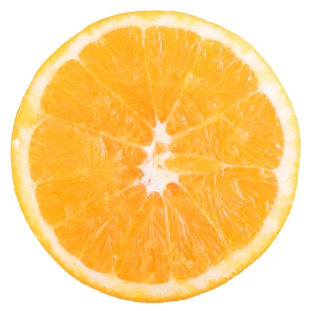 Fatia de laranja fresca isolada