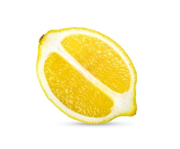 Fatia de limão cítrico isolada na superfície branca