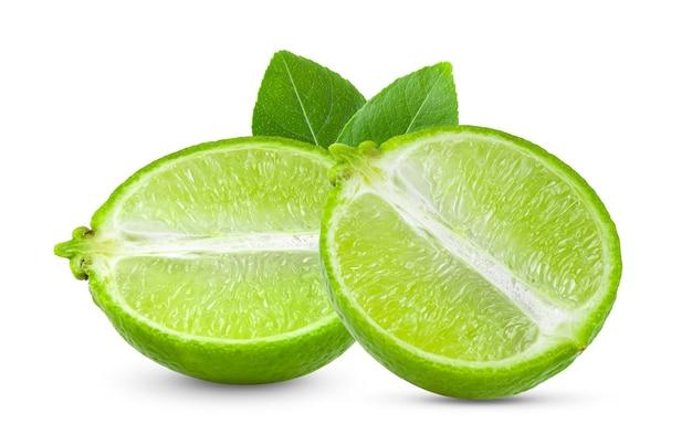 Fatia de limão isolada no branco Foto Premium