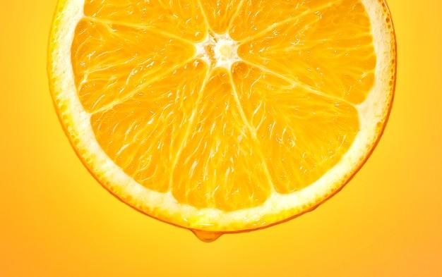 Fatia de macro de frutas suculentas de laranja