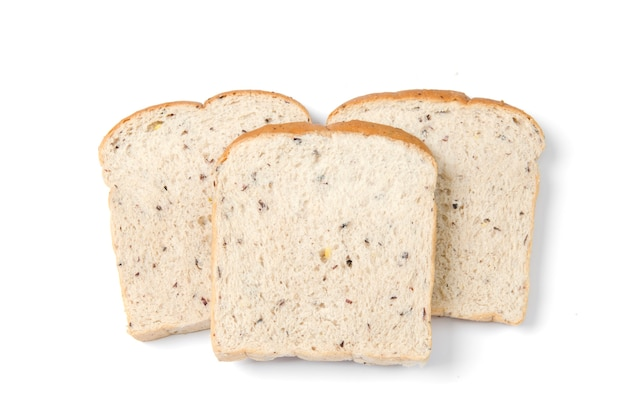 Fatia de pão isolada no branco