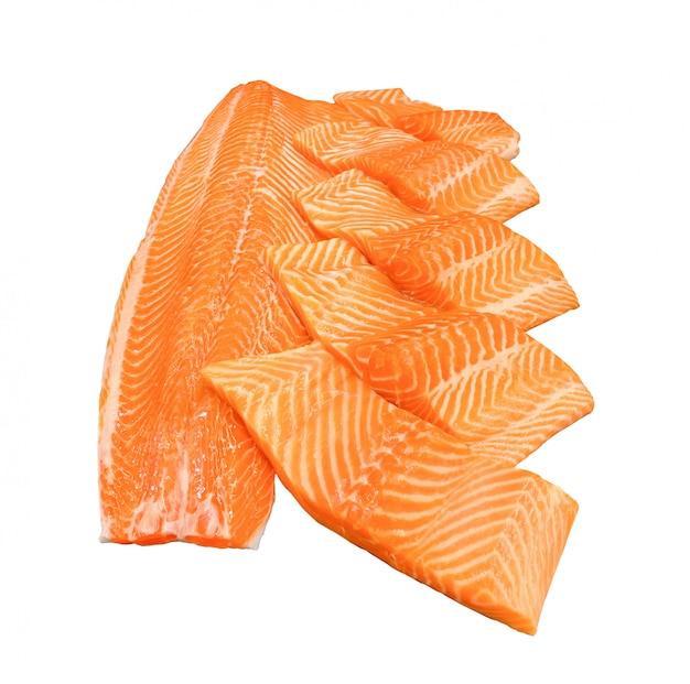 Fatia de salmão pronta para cozinhar